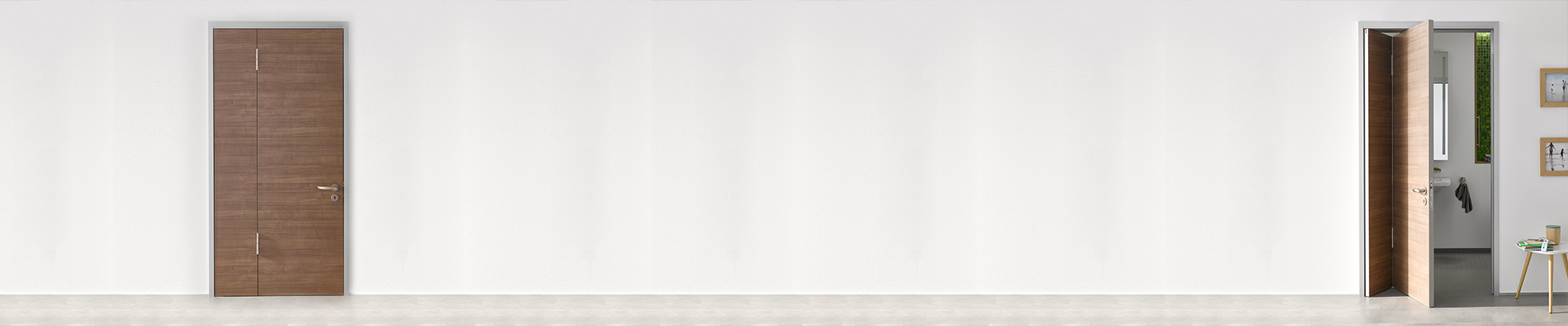 Türblatt vertikal geteilt mit Raumsparfunktion
