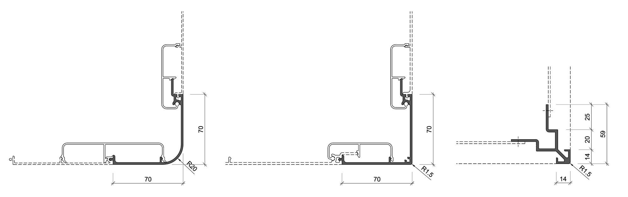 technische Zeichnung für Aluminiumfassade