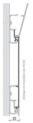 technische Zeichnung zur Befestigung eines Fassadenprofils