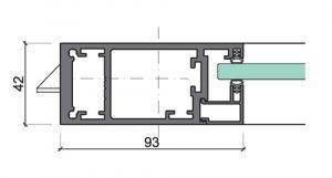 Profil der Aluminium Rahmentür 42