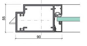 Profil der Aluminium Rahmentür 55