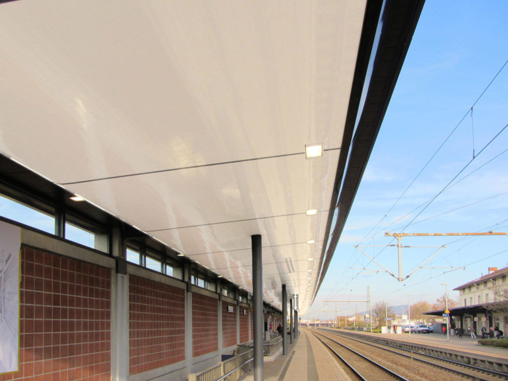 Bahnsteig mit Dachuntersicht