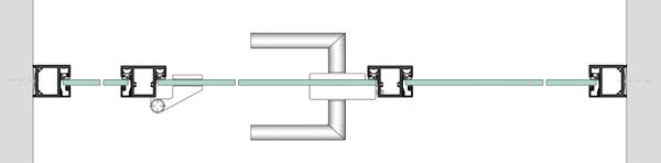 Horizontalschnitt durch Festverglasung
